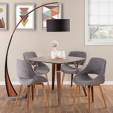 6 Piece Mid Century Modern Dining Set In Walnut And Grey