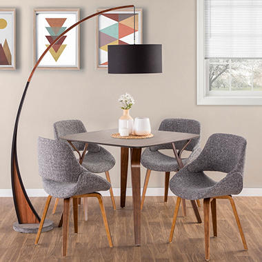 6 Piece Mid Century Modern Dining Set In Walnut And Grey