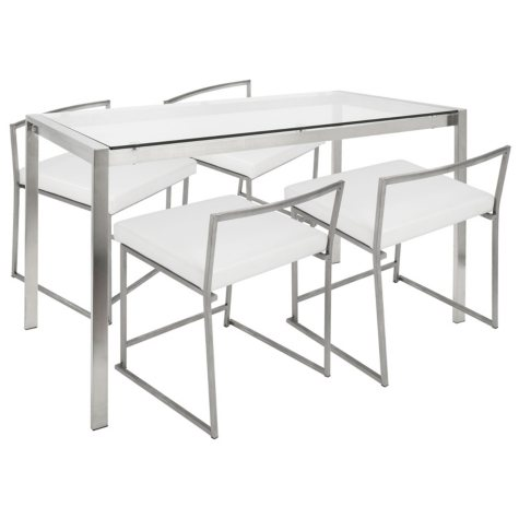 Fuji Contemporary 5-Piece Dining Set in Stainless Steel and White