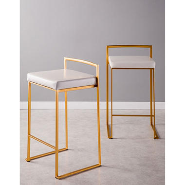 Fuji Contemporary Counter stool - Set of 2, Gold and White