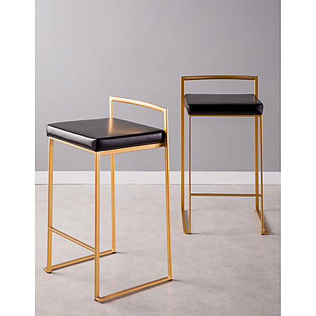Fuji Contemporary Counter stool - Set of 2, Gold and Black