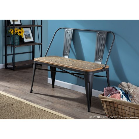 Oregon Industrial Farmhouse Dining/Entryway Bench, Gray and Brown
