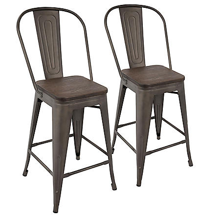 Oregon Industrial High Back Counter Stool - Set of 2, Antique Frame and Espresso Wood