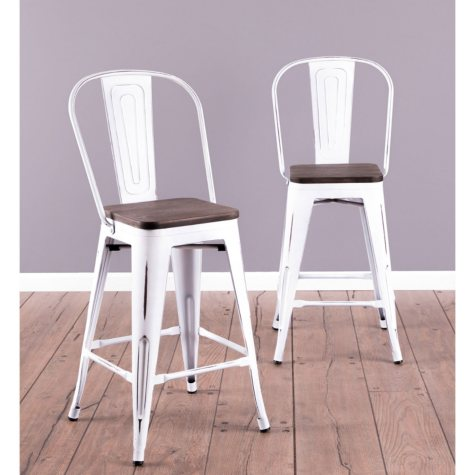 Oregon Industrial High Back Counter Stool - Set of 2, Vintage White Frame and Espresso Wood