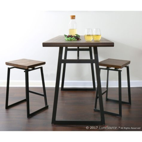 Geo 5-Piece Industrial Counter Set in Black with Brown Wood