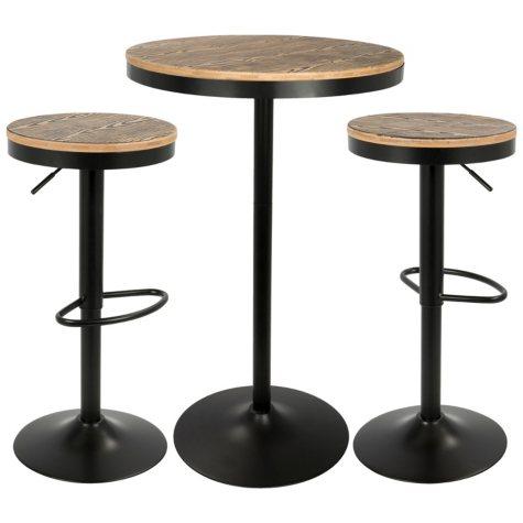 Dakota 3-Piece Industrial Pub/Dining Set, Black