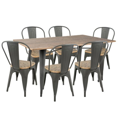 Oregon 7-Piece Industrial-Farmhouse Dining Set (Assorted Colors)