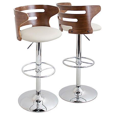 Cosi Height Adjustable Mid-century Modern Barstool with Swivel, Walnut and Cream