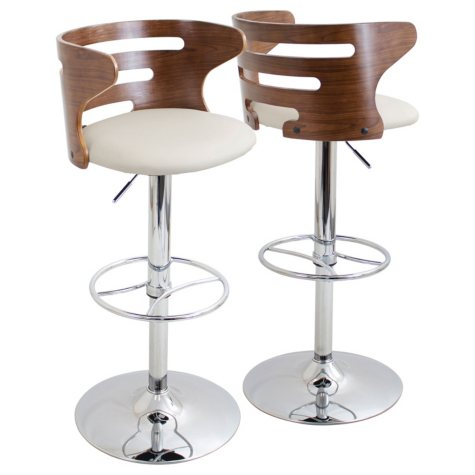 Cosi Height Adjustable Mid-century Modern Barstool with Swivel, Walnut and Cream