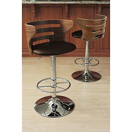 Cosi Height Adjustable Mid-century Modern Barstool with Swivel, Walnut and Brown