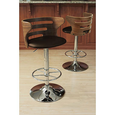 Cosi Height Adjustable Mid-century Modern Barstool with Swivel, Walnut and Brown