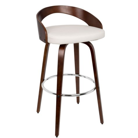 Grotto Mid-century Modern Barstool with Swivel, Cherry and White