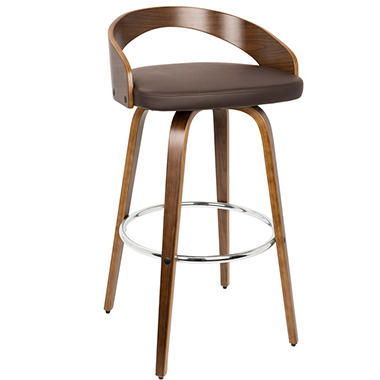Grotto Mid-century Modern Barstool with Swivel, Walnut and Brown