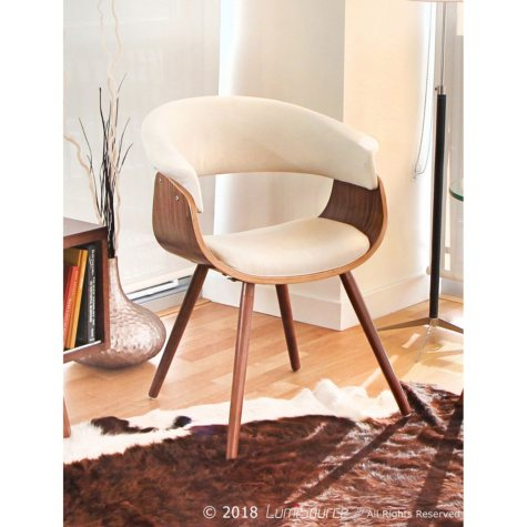 Vintage Mod Mid-century Modern Counter Chair, Walnut and Cream