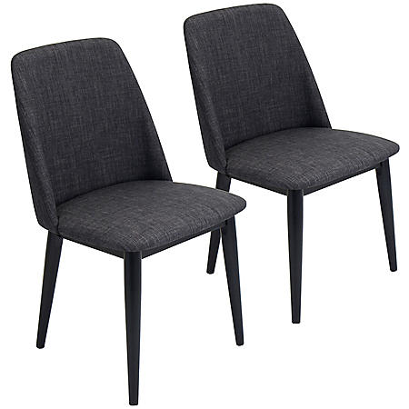 Tintori Mid-Century Dining Contemporary Chairs - Set of 2, Charcoal