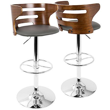 Cosi Mid-Century Modern Adjustable Barstool with Swivel, Walnut and Grey