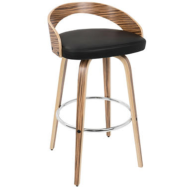 Grotto Mid-Century Modern Barstool, Zebra Wood and Black