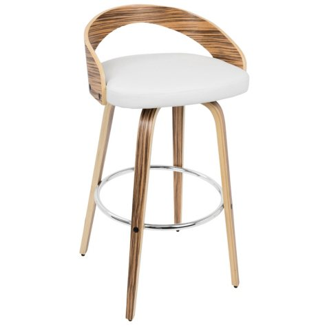 Grotto Mid-Century Modern Barstool, Zebra Wood and White