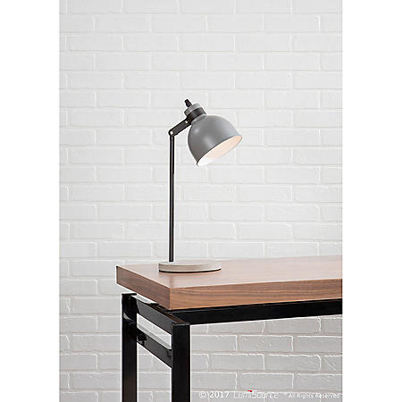 Concrete Industrial Table Lamp in Black and Gray