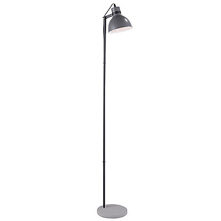 Concrete Industrial Floor Lamp in Black and Gray