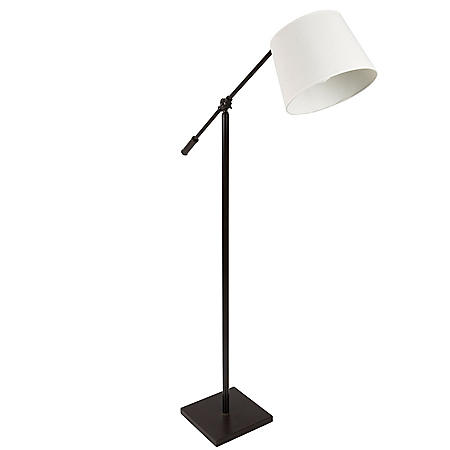 Piper Industrial Floor Lamp in Antique with Cream Shade