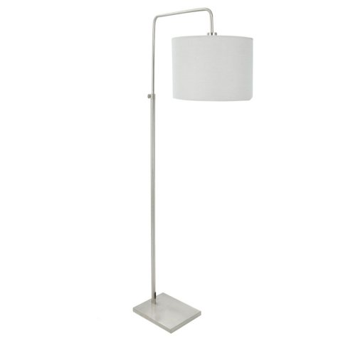 Apollo Industrial Floor Lamp in Brushed Nickel with Gray Shade