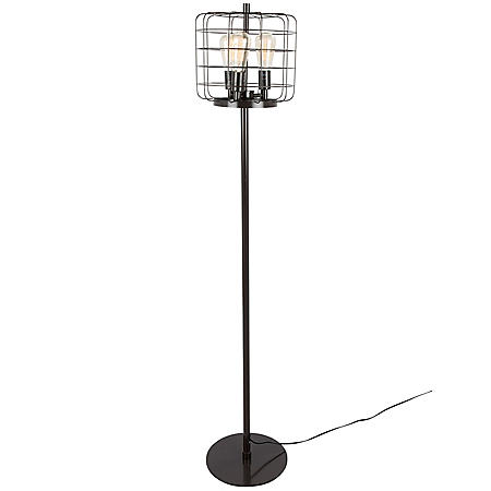 Indy Cage Industrial Floor Lamp in Antique
