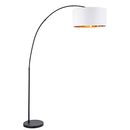 Salon Contemporary Floor Lamp with Black Base and White Shade with Gold Accent
