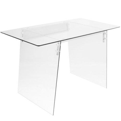 Glacier Contemporary Desk in Clear and Chrome