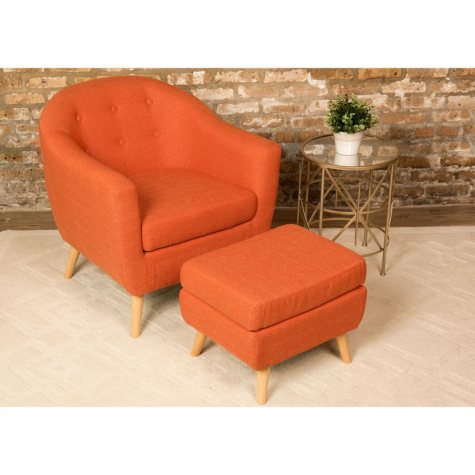 Rockwell Mid-Century Modern Accent Chair and Ottoman (Assorted Colors)