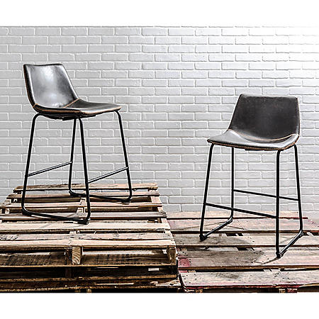 Duke Industrial Counter Stool in Black and Gray with Orange Stitching (Set of 2)