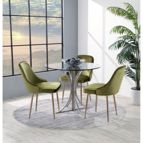 Marcel Contemporary Dining Chair with Gold Frame, Set of 2 (Assorted Colors)