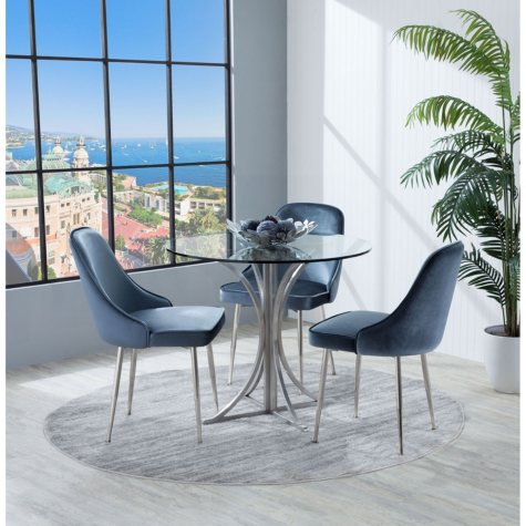 Marcel Contemporary Dining Chair with Chrome Frame, Set of 2 (Assorted Colors)
