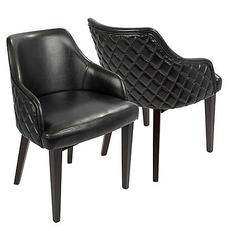 Esteban Contemporary Dining Chair in Espresso with Black Faux Leather- Set of 2