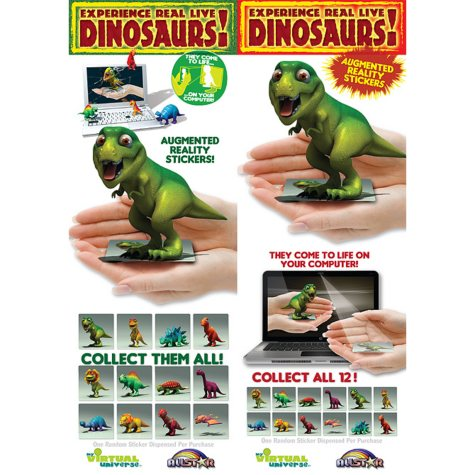 """3D Dino Augmented Reality Stickers - 2.3"""" x 2.5"""" - 12 ct."""