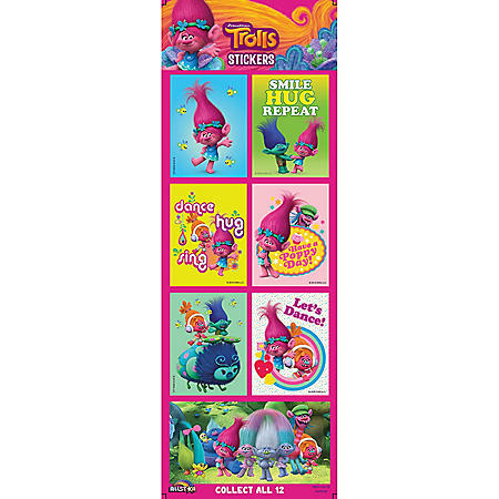 Trolls Stickers, Flat Vending
