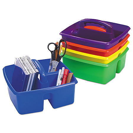 "Storex Small Art Caddies, 9.25"" x 9.25"" x 5.25"", Blue/Red/Yellow/Green/Purple, 5 per pack"
