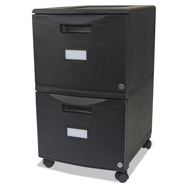 Storex - Two-Drawer Mobile Filing Cabinet, 14-3/4w x 18-1/4d x 26h -  Black