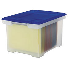"Storex"" Plastic File Tote with Snap-On Lid"