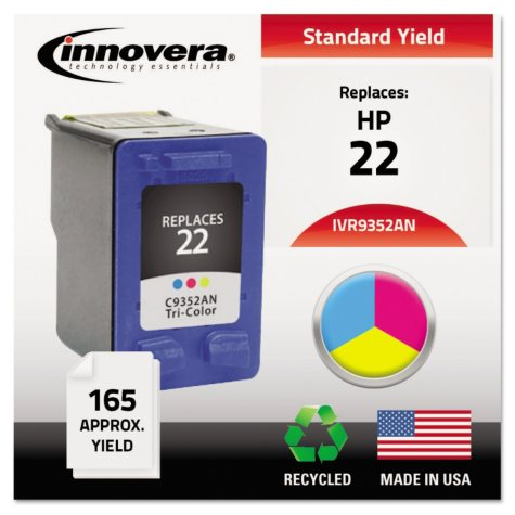 Innovera® Remanufactured C9352AN (22) Ink, Tri-Color