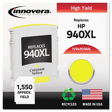Innovera® Remanufactured C4909AN (940XL) High-Yield Ink, Yellow