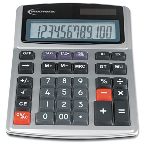 Innovera - 15971 Large Digit Commercial Calculator, 12 Digit LCD, Dual Power - Silver