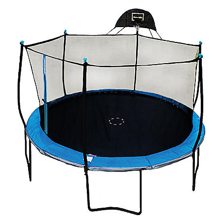 14' Trampoline with Safety Enclosure and Basketball System
