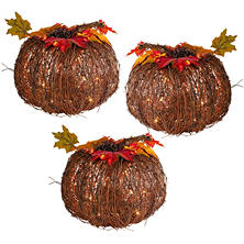 "10"" Lighted Twig Pumpkins, Set of 3"