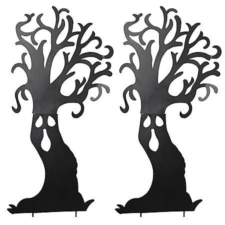 Metal Haunted Tree Silhouette Yard Stakes, Set of 2