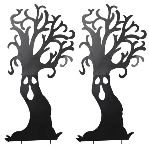 Metal Haunted Tree Silhouette Yard Stakes, Set of 2