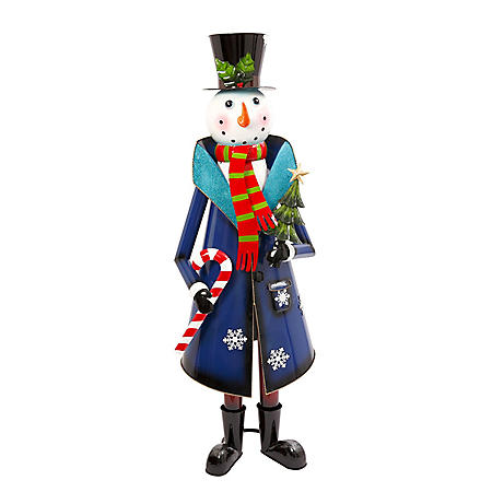 """59"""" Metal Snowman Holding Candy Cane and Tree"""