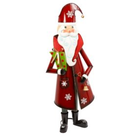 60 metal holiday santa holding present and bell
