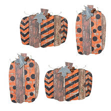 Wooden Pumpkin Wall Hangings, Set of 4