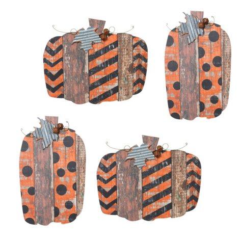 Wooden Pumpkin Wall Hangings, Set of 4